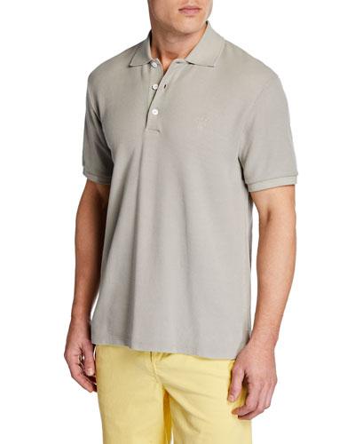 Men's Pique Polo Shirt with Embroidered Dagger Logo