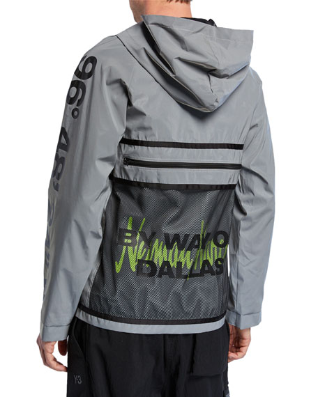 By Way of Dallas X Neiman Marcus Men's Logo Typographic Hooded Reflective Anorak