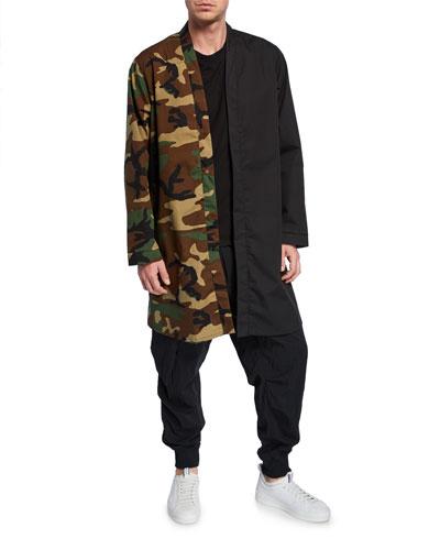 Men's Split Pattern Snap-Front Kimono
