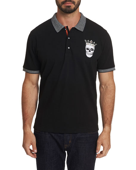 Robert Graham T-shirts MEN'S SKULL KING SHORT-SLEEVE POLO SHIRT