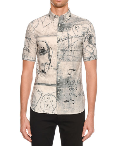 Men's Sketch Graphic Short-Sleeve Sport Shirt