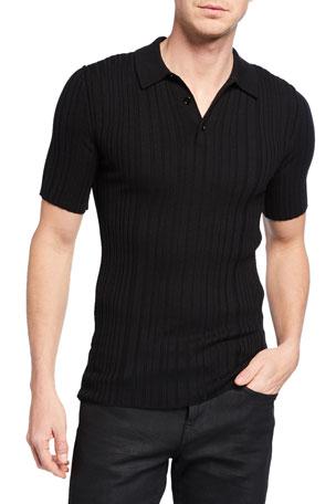 Dolce & Gabbana Men's Ribbed Knit Wool Polo Shirt