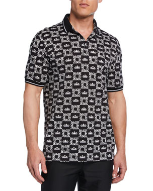 e88af3308ea2 Dolce   Gabbana Men s Graphic Logo-Pattern Polo Shirt