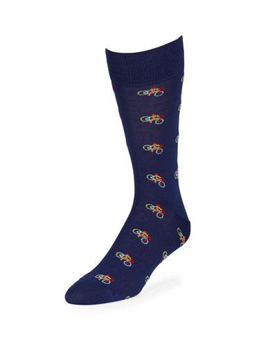 Men's Bicycle Graphic Cotton Socks