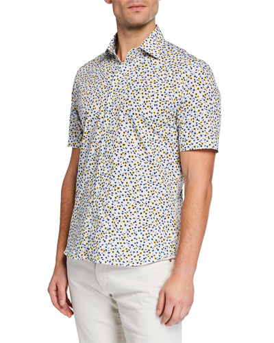 Men's Abstract Floral-Print Cotton Button-Down Shirt