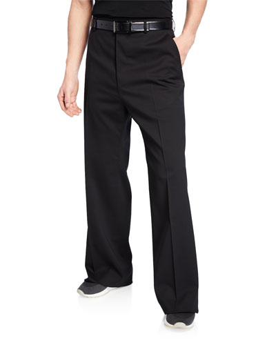 Men's Wide-Leg Wool Trousers