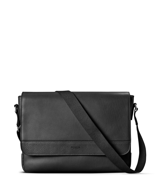 8bc59d2cb45 Shinola Men s Slim Signature Leather Messenger Bag
