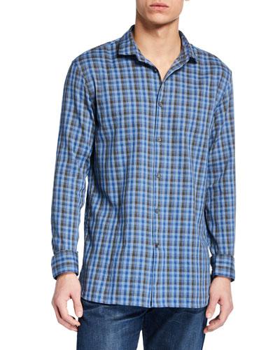 Men's Ashten Star Plaid Wire-Collar Sport Shirt