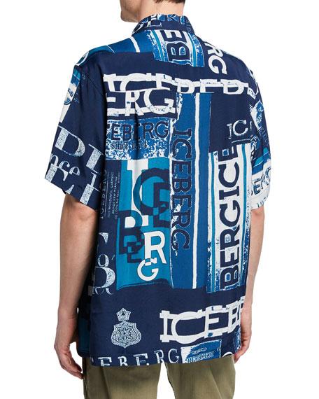 Iceberg Men's Graphic Logo Short-Sleeve Sport Shirt