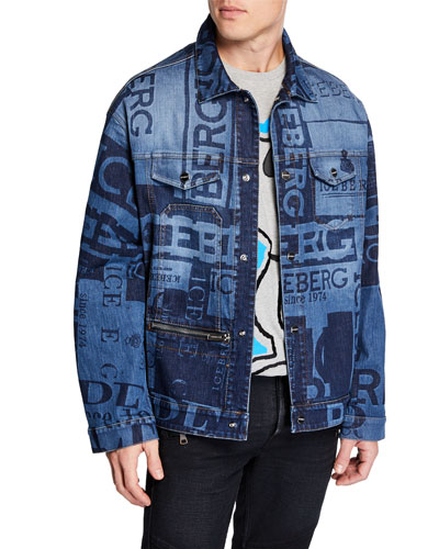 Men's Graphic Logo-Print Denim Jacket