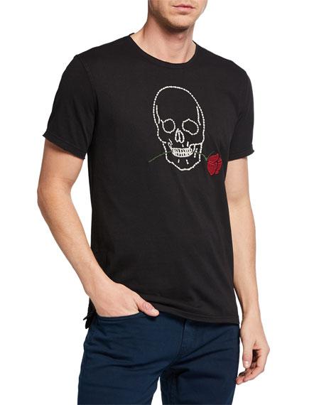John Varvatos T-shirts MEN'S SKULL & ROSE STITCHED T-SHIRT