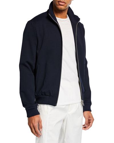 Men's Solid Knit Zip-Front Sweater
