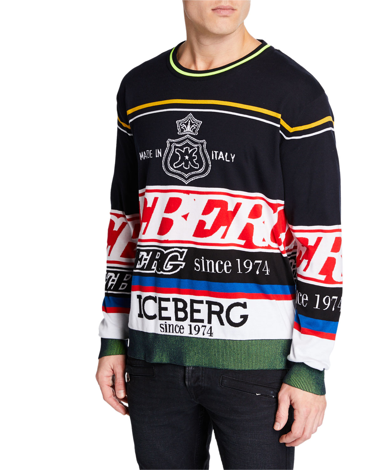 608e2ac10355 Iceberg Men s Logo Knit Crewneck Sweater