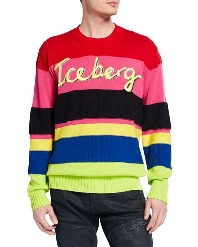 Men's Multi-Stripe Cotton Sweater
