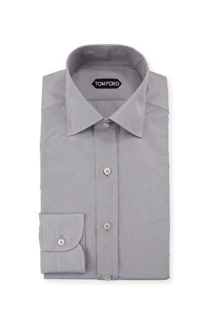 TOM FORD Men's Silk-Blend Poplin Dress Shirt
