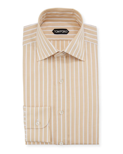 Men's Striped Linen-Blend Dress Shirt