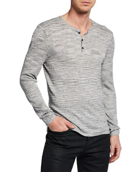 John Varvatos Knits MEN'S SEAN MELANGE-KNIT HENLEY SHIRT