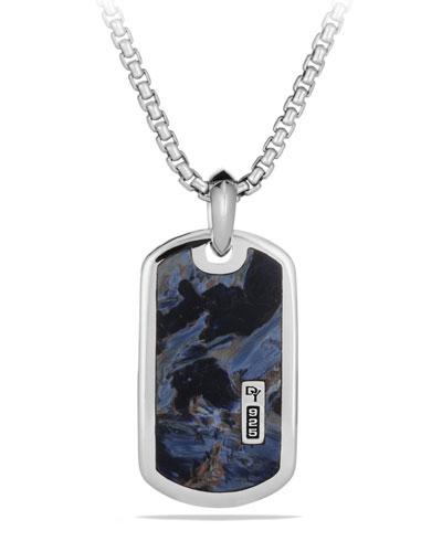 Men's Sterling Silver & Pietersite Exotic Stone Tag