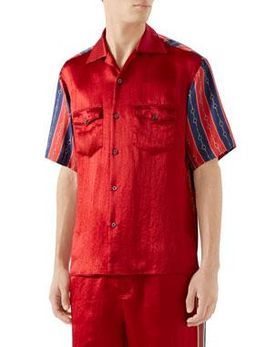 f2d0e7901 Gucci Men's Silk-Front Chain Striped Short-Sleeve Shirt