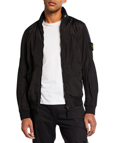 Men's Patched Nylon Zip-Front Jacket