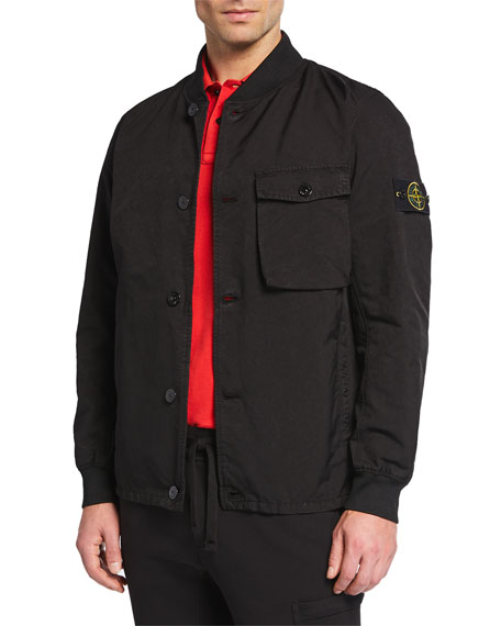 Stone Island Jackets MEN'S TWILL BUTTON-FRONT JACKET