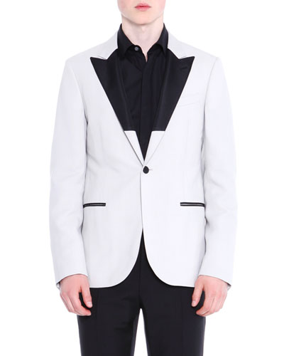 Two-Tone Peak Lapel Evening Jacket  Ivory