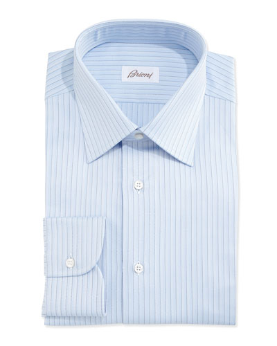 Herringbone-Pinstripe Woven Dress Shirt  Light Blue