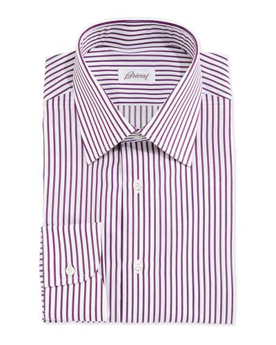 Textured Bengal-Stripe Woven Dress Shirt  White/Purple