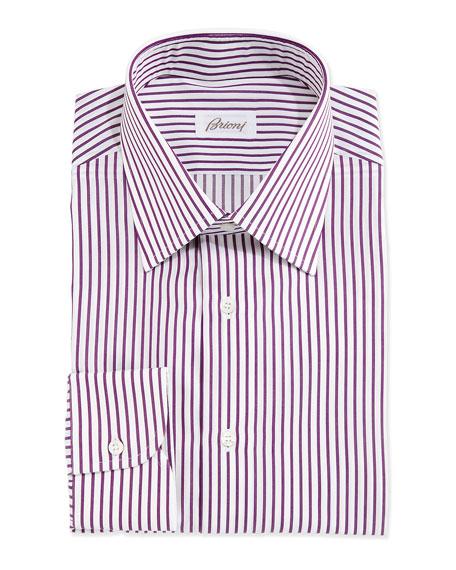 Brioni Textured Bengal-Stripe Woven Dress Shirt, White/Purple