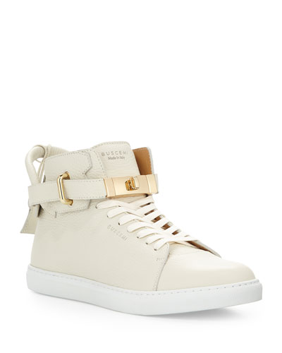 Men's Leather High-Top Sneakers w/ 18k Gold-Plated Hardware  Off White