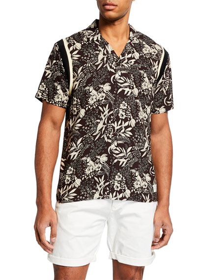 Scotch & Soda T-shirts MEN'S BOTANICAL-PRINT HAWAIIAN SHIRT