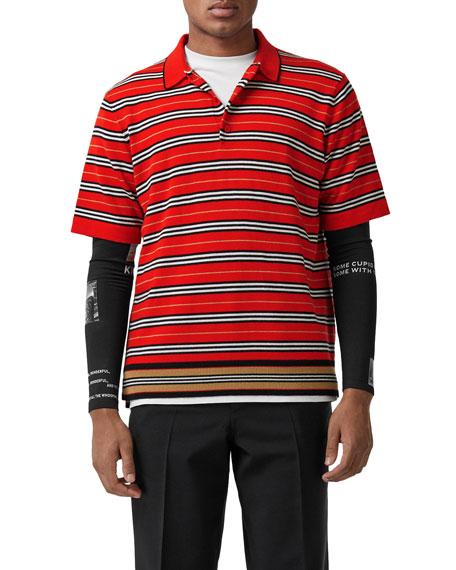 247117f3 Burberry Contrast Stripe Merino Wool Polo Shirt In A1460   ModeSens
