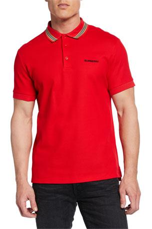 Burberry Johnston Signature-Trim Polo Shirt