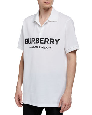 0ab6d653 Burberry Men's Luckland Logo-Typographic Polo Shirt