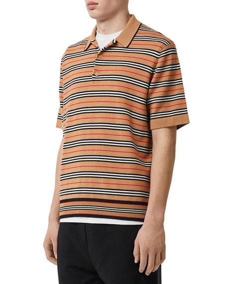 Burberry Men's Beaford Striped Wool Polo Shirt