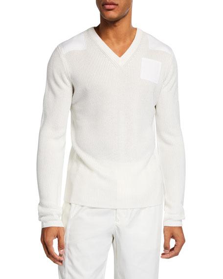 Helmut Lang Sweaters MEN'S MILITARY LONG-SLEEVE V-NECK SWEATER
