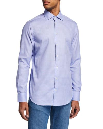 Men's Small-Check Sport Shirt  Lilac