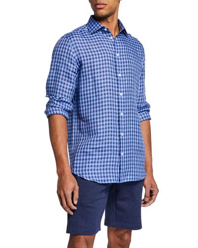Men's Linen Medium Check Sport Shirt