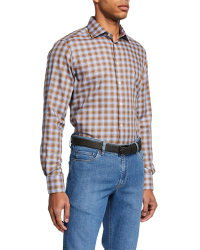 Men's Large-Check Sport Shirt  Brown