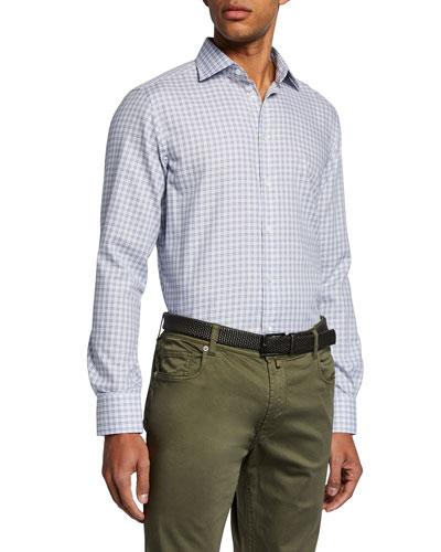 Men's Small-Check Sport Shirt  Brown