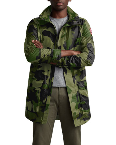 Men's Crew Camo Print Trench Coat
