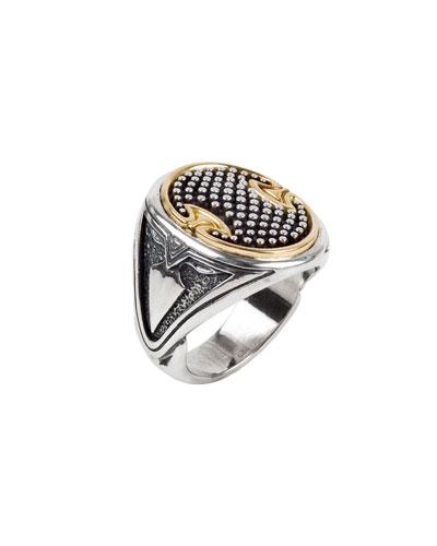 Men's 18k Gold Trim Signet Ring