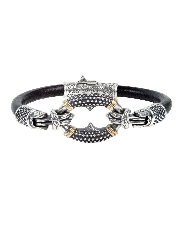 Konstantino Men's Round Charm Leather Bracelet