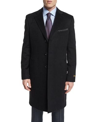 Cashmere Long Car Coat  Black