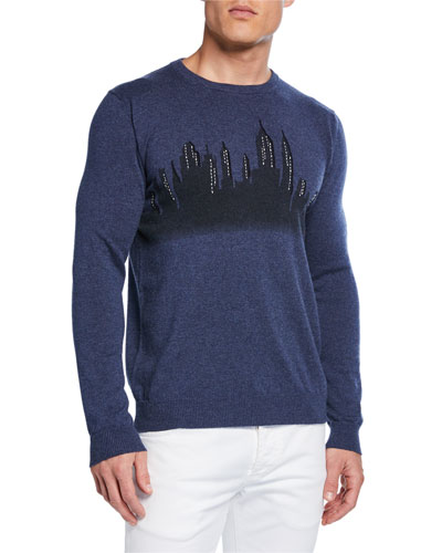 Men's Hand-Embroidered New York Skyline Sweater