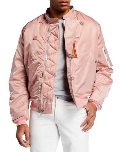 Men's Satin Zip-Front Flight Jacket