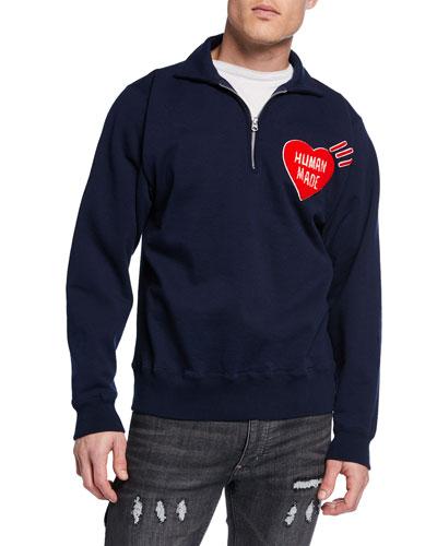 Men's Quarter-Zip Logo-Graphic Sweater