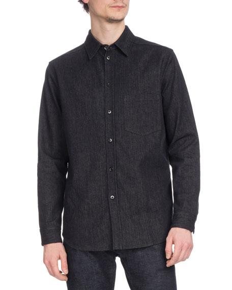 Berluti Men's Denim Cotton-Blend Cowl Shirt