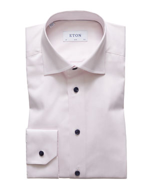 42db3b17f Eton Men's Slim-Fit Contrast-Button Dress Shirt