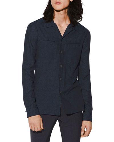 Men's Slim-Fit Sport Shirt with Subtle Jacquard